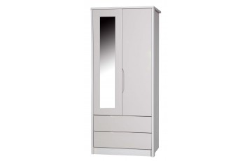 Aston High Gloss 2 Door Combi Robe With Mirror - Multiple Colour Options