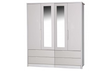 Aston High Gloss 4 Door Combi Robe With Mirror - Multiple Colour Options