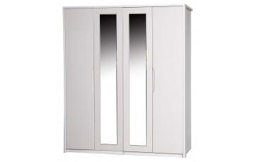 Aston High Gloss 4 Door Robe With Mirror - Multiple Colour Options