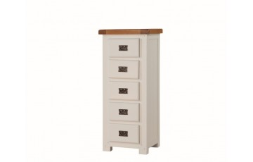 Henley Painted Solid Oak 5 Drawer Narrow Chest