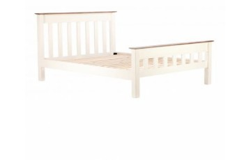 Canterbury 5ft King Size Panel Bedstead in Painted White - Solid Reclaimed Wood