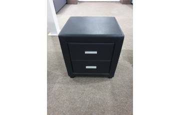 Danoon Black Leather 2 Drawer Bedside- CLEARANCE!!