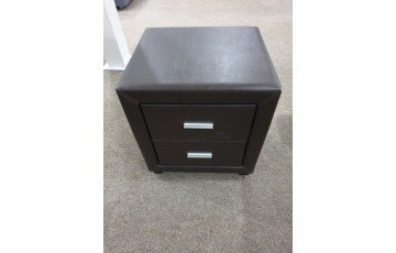 Danoon Brown Leather 2 Drawer Bedside- CLEARANCE!!