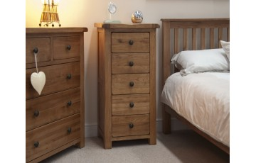 Chicago Solid Oak 5 Drawer Narrow Chest