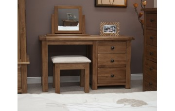 Chicago Solid Oak Dressing Table & Stool
