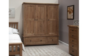 Chicago Solid Oak Triple Wardrobe