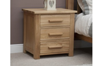 Sherwood Deluxe Solid Oak 3 Drawer Bedside Cabinet