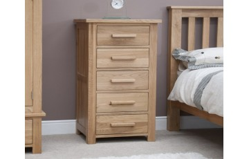 Sherwood Deluxe Solid Oak 5 Drawer Narrow Chest