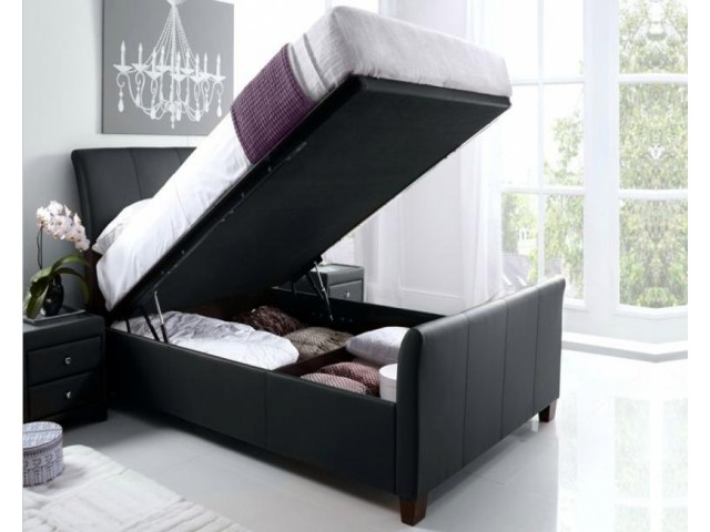 Antoinette 4ft6 Real Leather Ottoman Bed Frame