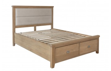 Hamilton 6ft Oak Bedframe with Drawers and Fabric Headboard