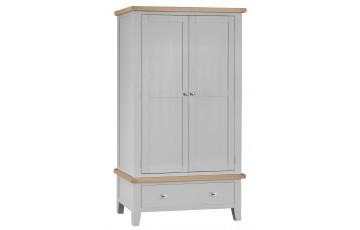 Trieste Grey Oak Painted Large 2 Door 1 Drawer Wardrobe