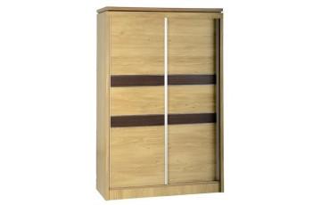 Chadwick 2 Door Sliding Wardrobe in Oak Effect Veneer with Walnut Trim
