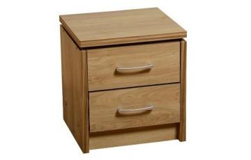 Chadwick 2 Drawer Bedside Chest in Oak Effect Veneer with Walnut Trim