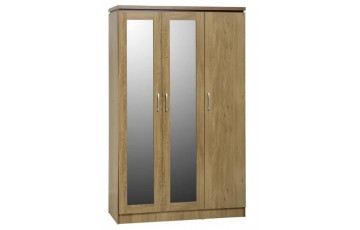 Chadwick 3 Door All Hanging Wardrobe in Oak Effect Veneer with Walnut Trim