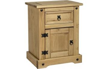Mexican Deluxe Reclaimed Pine 1 Drawer 1 Door Bedside Cabinet