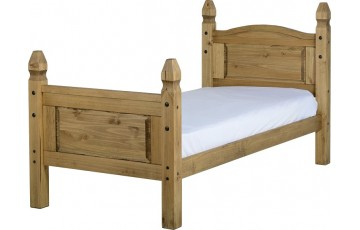 Mexican Deluxe Reclaimed Pine 3ft Bedframe High Foot End