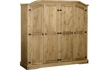 Mexican Deluxe Reclaimed Pine 4 Door wardrobe