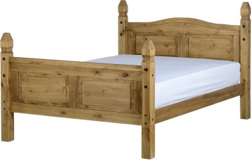 Mexican Deluxe Reclaimed Pine 4ft6 Bedframe High Foot End