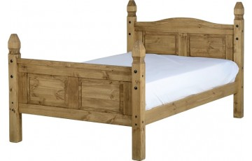 Mexican Deluxe Reclaimed Pine 4ft Bedframe High Foot End
