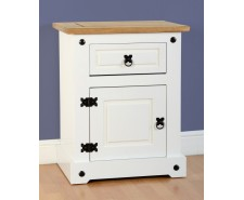 Mexican Deluxe Painted White 1 Drawer 1 Door Bedside Cabinet