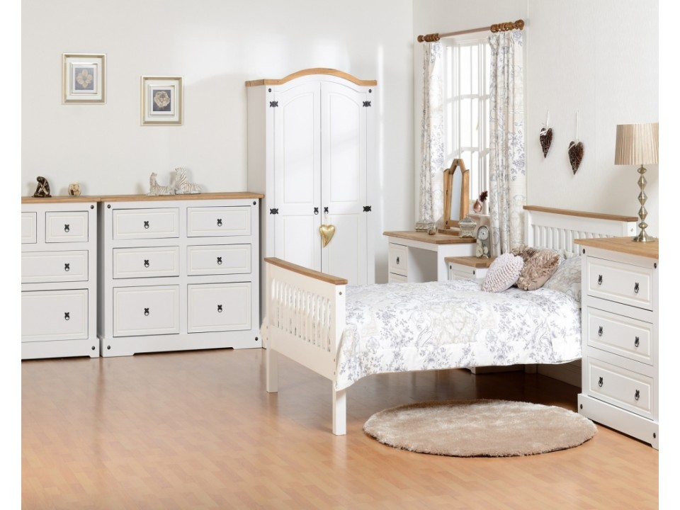 Mexican Deluxe Painted 3 Drawer Chest, Mexican Pine Furniture Painted White